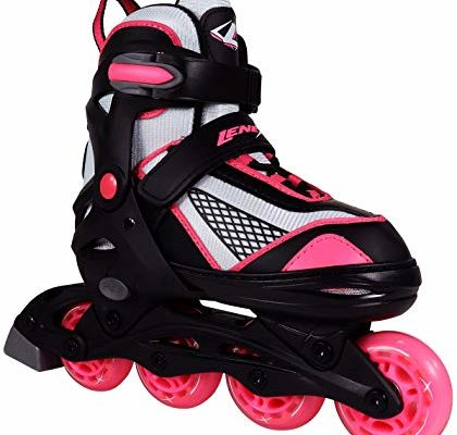 Lenexa Venus Kids Rollerblades – Patines Roller Blades for a Kid (Girl/Girls, Boy/Boys) – Adjustable Comfortable Inline Skates for Children (Black/Pink) Review