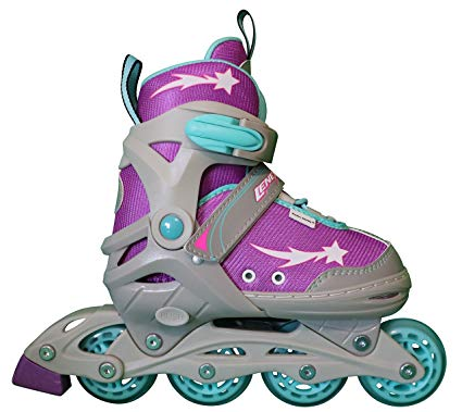 Lenexa Athena Kids Rollerblades – Patines Roller Blades for a Kid (Girl/Girls, Boy/Boys) – Adjustable Comfortable Inline Skates for Children (Purple/Grey/Blue) Review