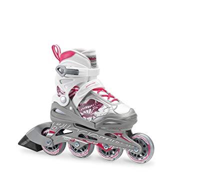 Bladerunner by Rollerblade Phoenix Girls Adjustable Fitness Inline Skate, White and Pink, Junior, Value Performance Inline Skates Review