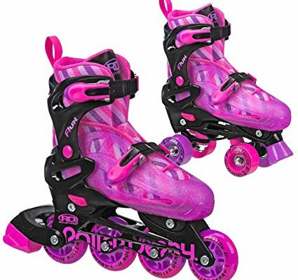 Roller Derby Kids Roller Skates with Interchangable Inline and Quad SkatesCombination Great for Beginners, Flux Derby Pinl Review