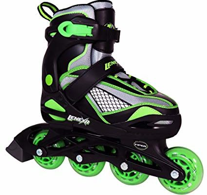 Lenexa Viper Kids Rollerblades – Patines Roller Blades for a Kid (Girl/Girls, Boy/Boys) – Adjustable Comfortable Inline Skates for Children (Black/Green) Review