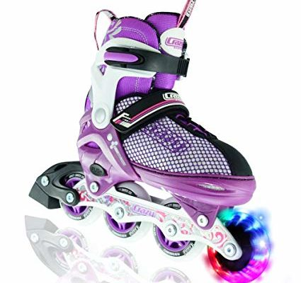 Crazy Skates LED Adjustable Inline Skates | Light up wheels | Adjusts to fit 4 Shoe Sizes | Purple with Mesh Boot | Pro Model 168 Review