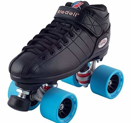 Riedell Black R3 Demon EDM Roller Derby Speed Skates w/ NEW Blue Demon EDM Wheels (95A) Review