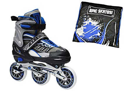 Epic Shield Black & Blue Indoor / Outdoor 90mm 3-Wheel Tri-Skate Inline Speed Skates w/ Matching Drawstring Bag! (Adult 5-8)