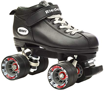 Riedell Dart Vader Quad Roller Derby Speed Skate w/ 2 Pair of Laces (Gray & Black)