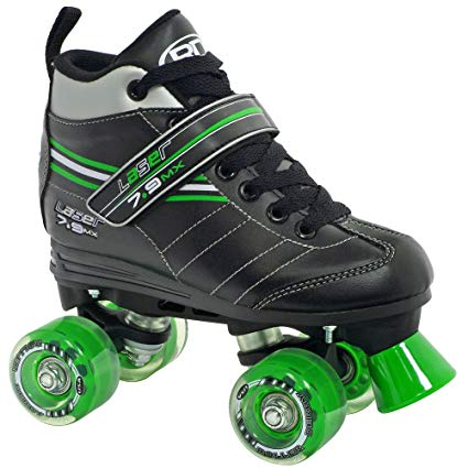 Roller Derby Laser 7.9 MX Boys Speed Roller Skates - 6.0/Black-Green