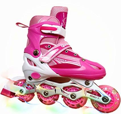 you-beat-you-land Children Adjustable Inline Skates Kids Rollerblades For Boys And Girls With Light Up Wheel Review