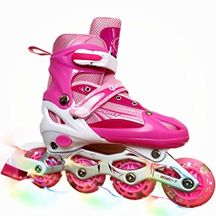 you-beat-you-land Children Adjustable Inline Skates Kids Rollerblades For Boys And Girls With Light Up Wheel