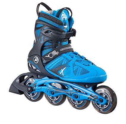 K2 Skate Men's Vo2 90 Pro Inline Skates, Black/Blue, 6.5